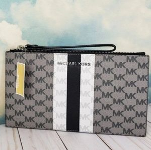 Michael Kors Center Stripe Large Zip Clutch